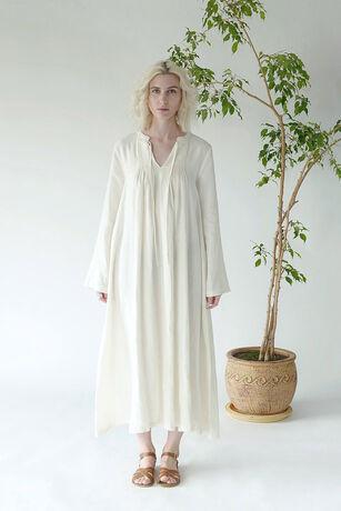 LINEN PINTUCK DRESS LIGHT