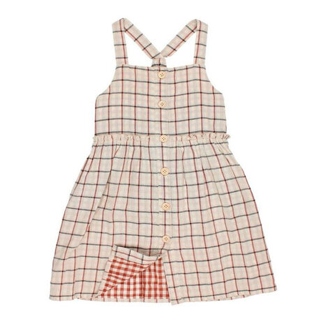 ZOE WOVEN CHECK DRESS ECRU