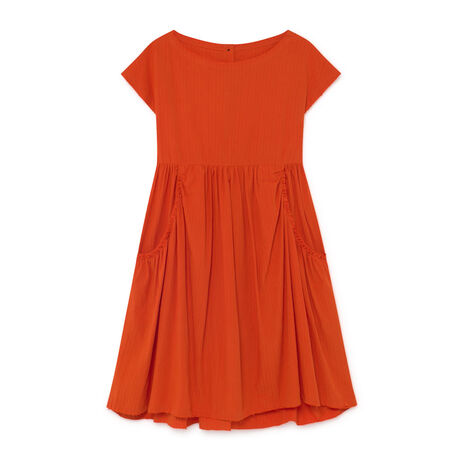 Crushed Cotton Dress Orange