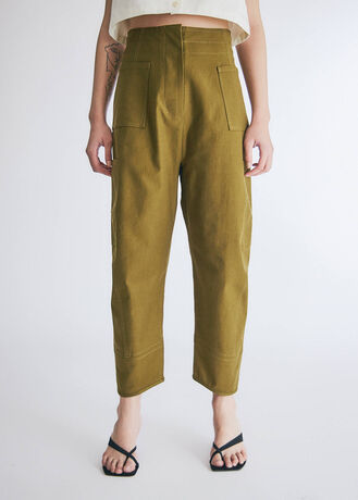COTTON TWILL ROUND FIT PANTS