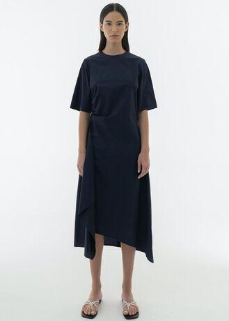 SHIRRING UNBALANCE COTTON DRESS