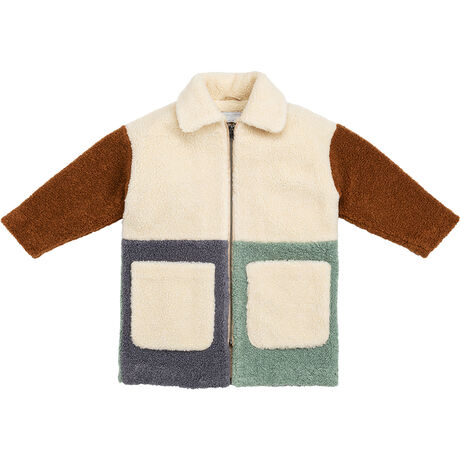 TEDDY BEAR COAT W/PATCHWORK