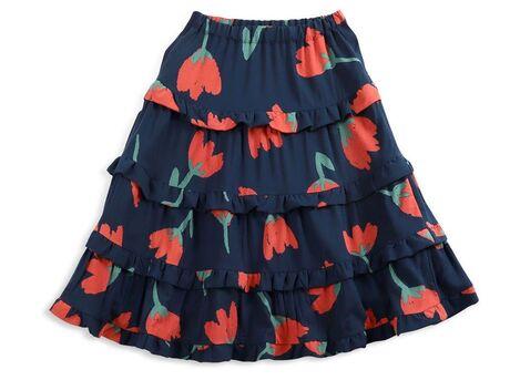 Big Flowers woven ruffle skirt