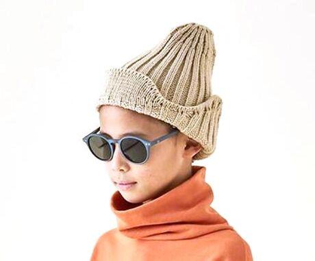knit flight cap beige