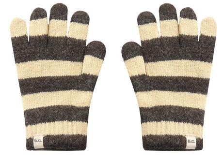 Striped Wool Gloves Ecru